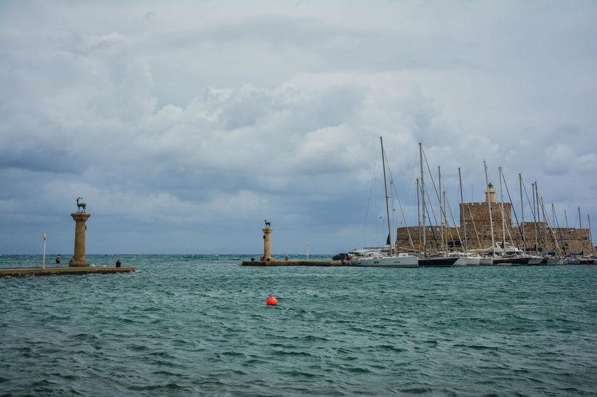 Kolos Rodyjski Big Cloud Aquamarine Cloud Seaside Sea Ródos Rhodes The Colossus Of Rhodes Faliraki Greece