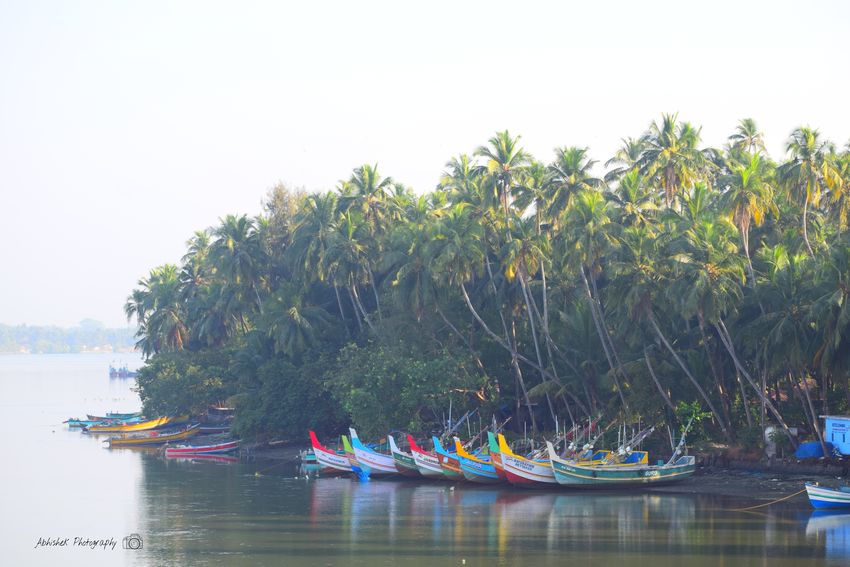 Clicked On Nikon D3300 Boats⛵️ Backwaters Trees Coconut Trees Water Reflection No People Nature