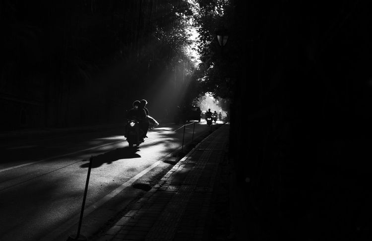 chasing harsh light Bali City Life Copy Space INDONESIA Silhouette Urban Lifestyle B&w Street Photography Black And White Day Full Length Light And Shadow Morning Commute Motion Outdoors People Real People Road Southeast Asia Streetphotography Transportation Tree Ubud Black And White Friday