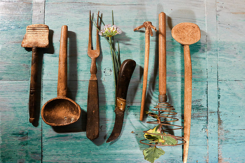 Antique Kitchenware Kitchen Utensils Old Kitchen Utensils Old Knife Still Life Vinbtage Fork Vintage Background Vintage Kitchenware Wooden Background Wooden Spoons