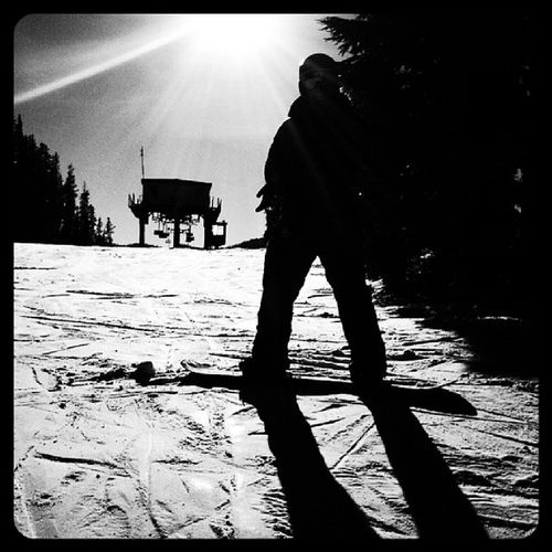 Black And White Silouhette Snowboarding Winter