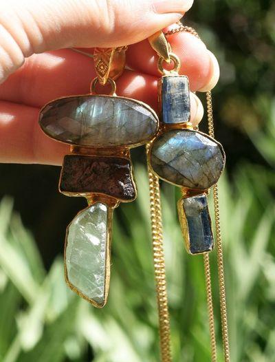 Jewels Pendants Gemstones Labradorite Fluorite Grenat Kyanite