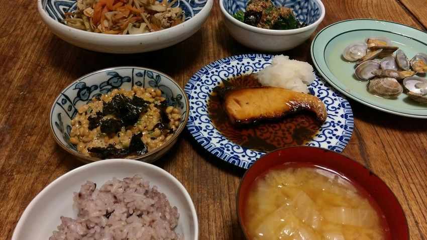 Miso Soup Yellowtail Natto Spinach Kinpira Burdock Delicious Food Porn Meal Steamed Clams 健康的!これなら太らないだろうな…