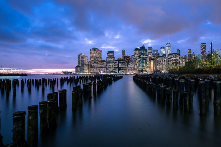 City Cityscape Manhattan NYC New York City Skyline USA Architecture Building Building Exterior Built Structure City Cloud - Sky Dusk Long Exposure Nature Night No People Sky United States Of America Urban Skyline Water