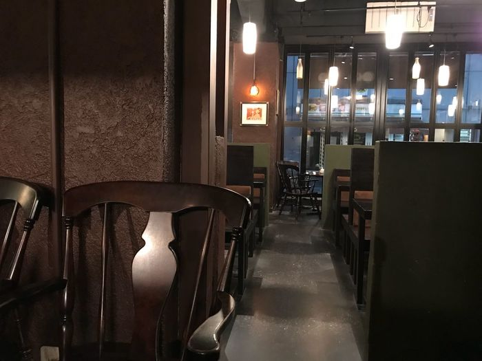 Mood Retro Table Absence Seat Chair Indoors  Illuminated Lighting Equipment No People In A Row Empty Restaurant Window Wood - Material Night Bar - Drink Establishment Repetition Furniture