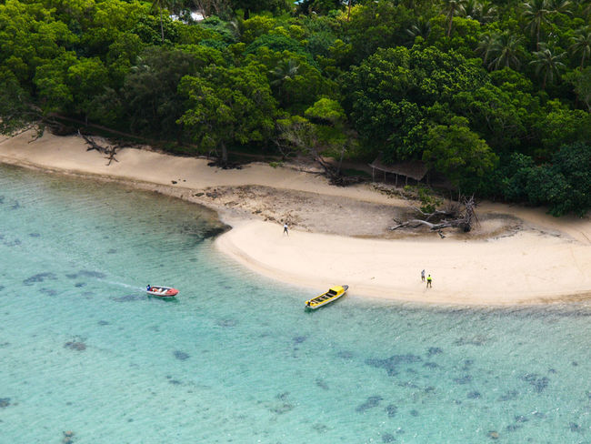 Port Vila Vanuatu Basket Beach Beauty In Nature Blue Sky Blue Water Day Fruit High Angle View Melanesia Nature Nautical Vessel No People Outdoors Pacific Ocean Sand Tourism Tranquility Travel Destinations Tree Vivid International Water Woven Baskets