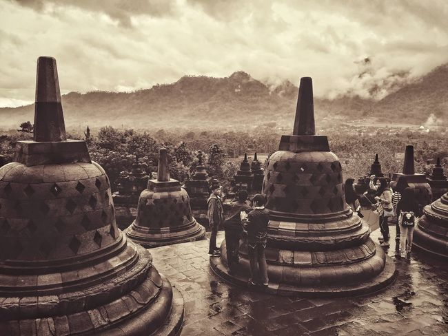 Outdoors Sky Day Oil Pump Worldwonder Borobudur Temple, Indonesia Cloud - Sky Dramatic Sky No People Lost In The Landscape