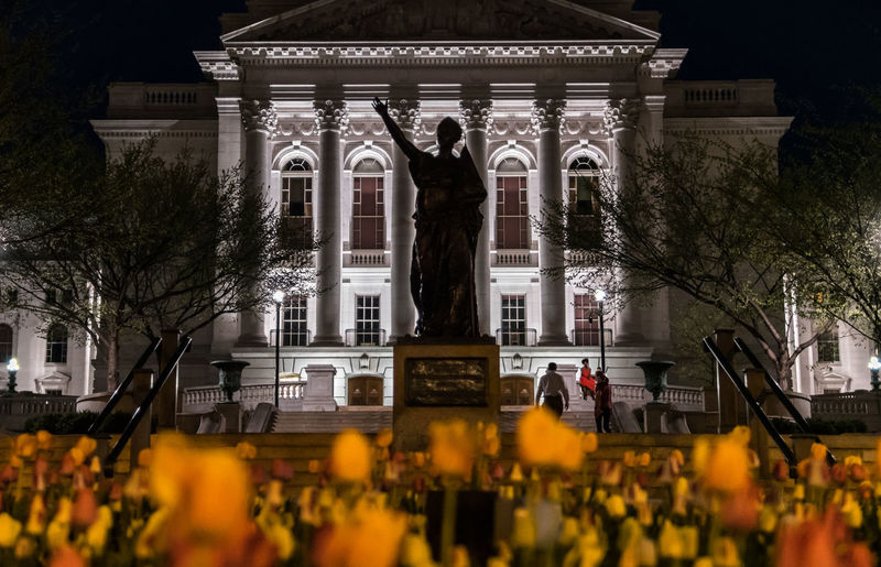 Wisconsin's state Capitol building during the night. Architecture Building Exterior Built Structure Night Illuminated Travel Destinations Building City History The Past Architectural Column Nature Outdoors Flower Travel Tourism Statue Lady Forward Capitol Building Tulips Columns Low Angle View Wisconsin