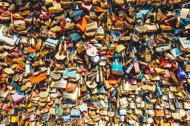 Abundance Backgrounds Close-up Colorful Day Different Perspective Full Frame Large Group Of Objects Locks Locks Of Love Locks Of Love Bridge Love Love ♥ Multi Colored No People Outdoors Paris Pattern Pont Neuf Safety