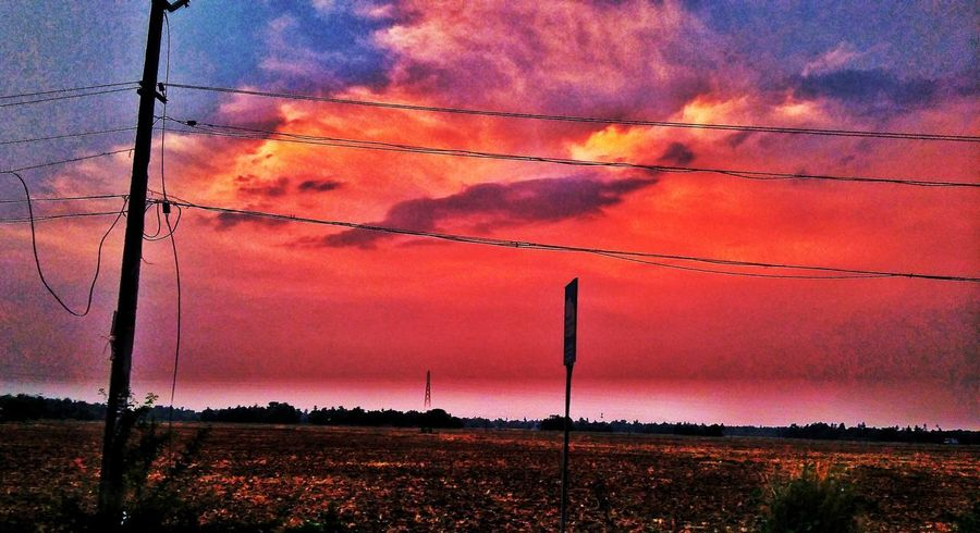 Sunset Sky Cloud - Sky Power Line  Nature Outdoors Electricity  Electricity Pylon Power Supply Cable Beauty In Nature Silhouette Art Is Everywhere Multi Colored Nature LightOfTheWorld Full Frame