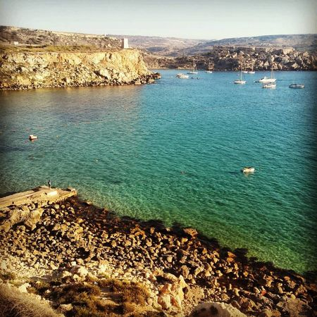 Beach Beauty In Nature Day Golden Bay Malta Maltaphotography Nature Outdoors Rock - Object Rocky Coastline Scenics Sea Sky Tranquil Scene Water Sommergefühle