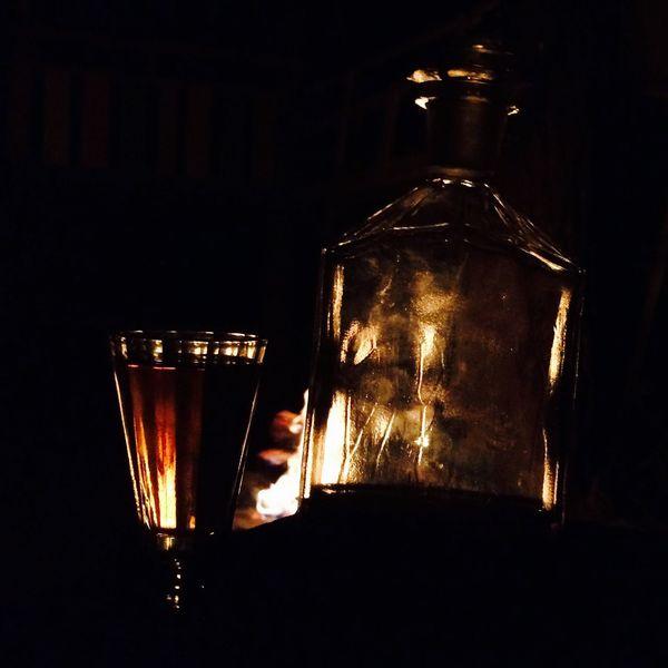 Fire Cognac Glass Old Bottle