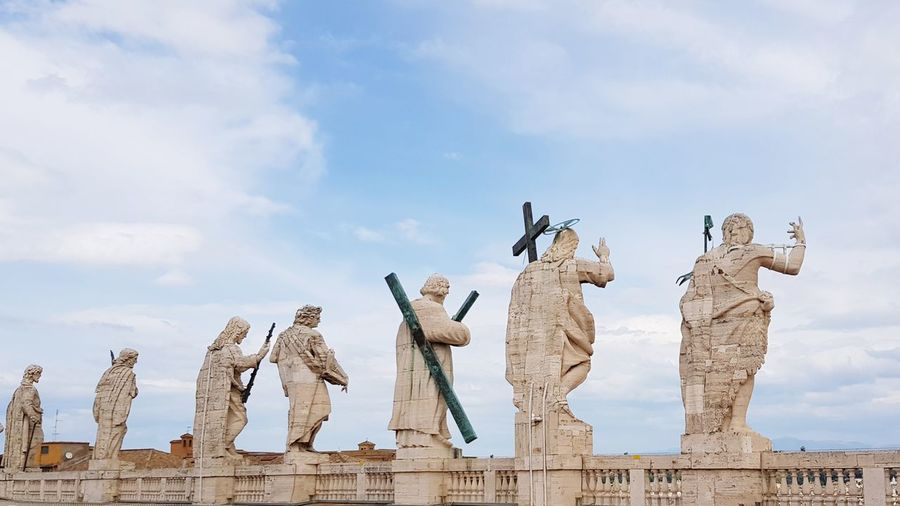 Low angle view of statues against sky vatican