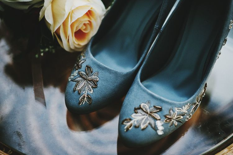 High angle view of bridal shoes