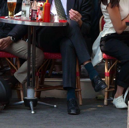Terrace Bistro Paris France Businessman Having A Break