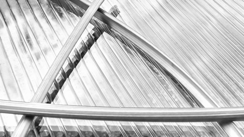 The silver triangle. Abstract Architecture Blackandwhite Built Structure BYOPaper! Close-up Convenience Copy Space Day Escalator Futuristic Light And Shadow Modern No People Nusshain 05 17 Pieplant Railing Reflection Rhabarber Rheum Rhabarbarum Rhubarb Silver  Staircase Transportation Visual Feast