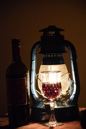 When the lights go out Still Life Bottle Wine Wineglass Red Wine Drinking Glass Alcohol Table Indoors  Close-up Hurricane Lamp Hurricane Lantern Wine Moments Wine Moments