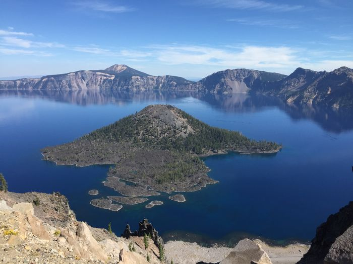 Beauty In Nature Blue Cloud - Sky Day Distant Geology Lake Majestic Mountain Mountain Range Nature Non-urban Scene Outdoors Physical Geography Reflection Rock Formation Scenics Sky Tourism Tranquil Scene Tranquility Travel Destinations Vacations Water Wizard Island, Oregon, Crater Lake!