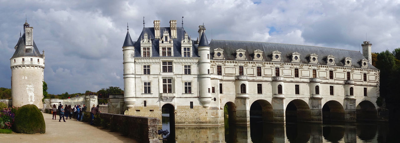 The castle Chenonceau at Chenonceaux in France. Architecture Building Exterior Built Structure Castle Chenonceau Chenonceaux Clouds Day France History Horizontal Outdoors River Sky Tower Travel Destinations