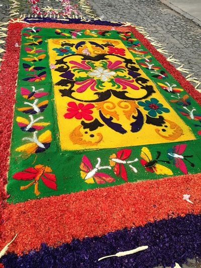 Street Street Design Colors Colored Rug Street Rug Antigua Guatemala Antigua Guatemala Tradition Procession Holy Week Holy Week Celebrations