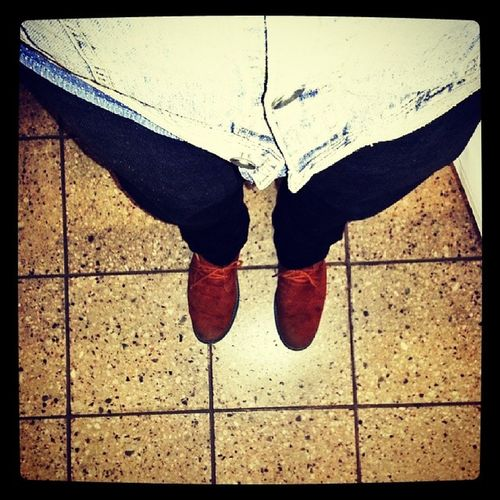 Waiting for the train Brownsuadeshoes Denim