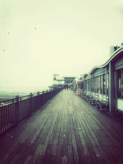 VintageBoardWalk Pier Weston-super-mare Autumn Aesthetics Fall Sky Architecture Built Structure vanishing point The Way Forward Boardwalk Leading Walkway Pixelated Shore Pedestrian Walkway Diminishing Perspective Pathway