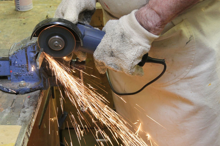 Angle Grinder Cutting Grinder Grinding Human Hand Industry Manual Worker Manufacturing Equipment Metal Metallic Occupation Sparks Working