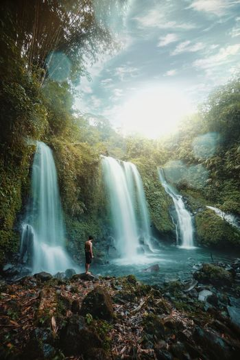 Jenggala waterfall is amazing spot in indonesia country