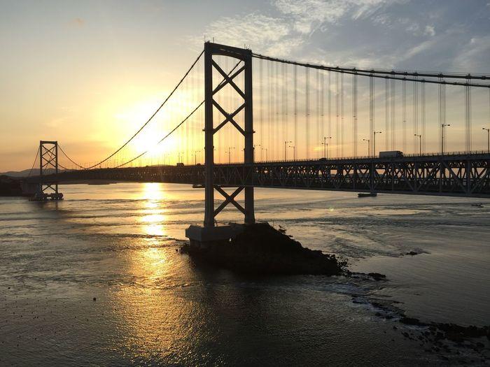 鳴門大橋 Bridge Built Structure Outdoors Sea Sky Sunset Water 鳴門 鳴門大橋 A New Beginning This Is Natural Beauty A New Perspective On Life