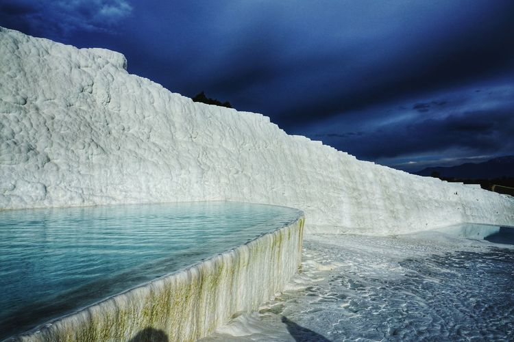 pamukkale Industry Environment Social Issues Nature Water Outdoors Mountain Landscape Agriculture Cold Temperature Irrigation Equipment Day Beauty In Nature Factory No People Sky Oil Pump The Photojournalist - 2017 EyeEm Awards Shades Of Winter