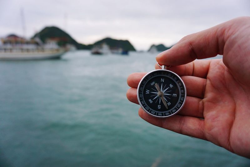 Close-up of hand holding navigational compass over sea against sky
