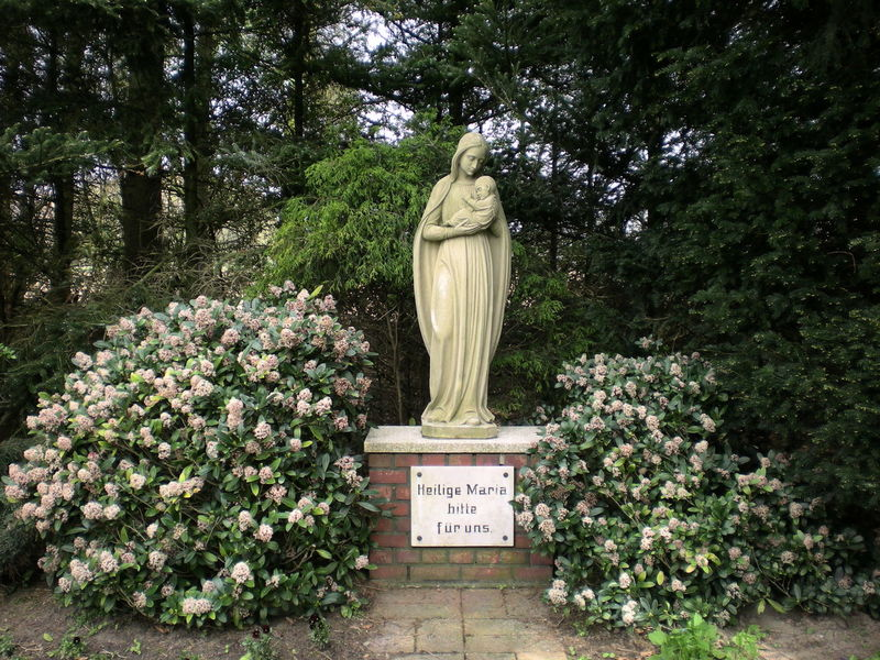 """Marienstatue, """"Heilige Maria bitte für uns"""" Catholic Madonna Mother And Son Art And Craft Beauty In Nature Communication Day Flower Human Representation Mother Of God Nature No People Outdoors Plant Sculpture Statue Text Tree"""