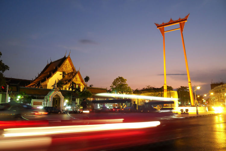 View of illuminated church at night