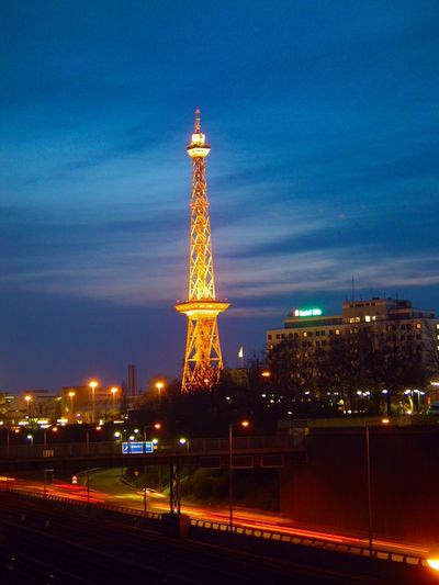 View of illuminated tower at night
