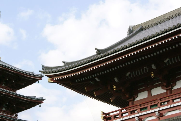 Low angle view of traditional buildings against sky