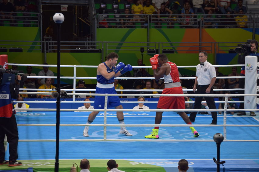 Agressive Boxing Practicing Rio Rio 2016 Summer Olympic Rio2016 Rules Sports Worldwide