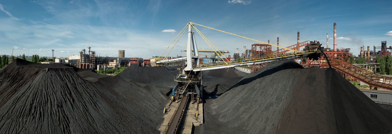 Panoramic View Of Coal Mine Against Sky