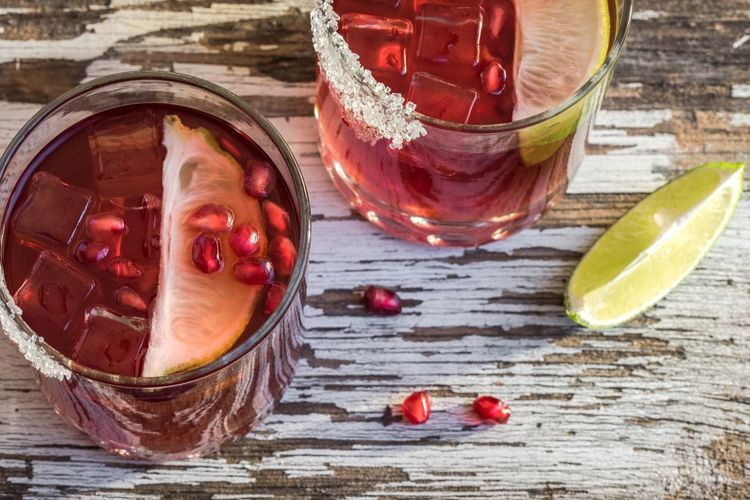 Pomegranate Lime Cocktail Libation Drink Beverage Alcohol Adult High Angle View Low Ball Food And Drink