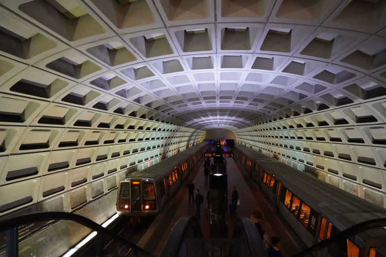 A view of the Metrorail subway in Washington DC in the United States. From a series of travel photos in the United States. Metrorail The Architect - 2018 EyeEm Awards Architecture Built Structure Ceiling City Crowd Group Of People Illuminated Incidental People Indoors  Lifestyles Men Metrorailtransit Mode Of Transportation Modern People Public Transportation Real People Subway Station Transportation Travel Travel Destinations