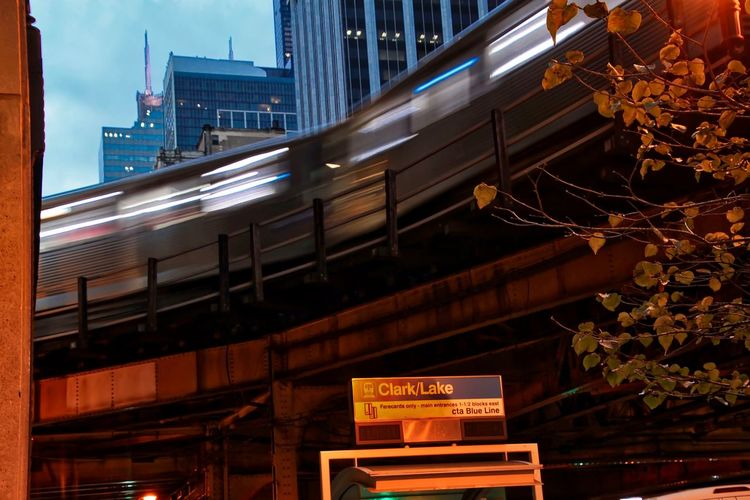Chicago el train moving through the Loop in the evening. Autumn CTA Blue Line Chicago Loop Cityscape Downtown Chicago Elevated Track Lights Transit Transportation Architecture Blue Building Exterior Built Structure City El Tracks El Train Illuminated Leaves Moving Train Night No People Outdoor Photography Outdoors Text Train Station Platform