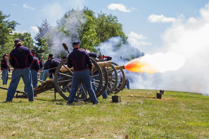 Firing the cannon. Cannon Canon60d Canonphotography Civil War Civil War Battle Field Civil War Re-enactments Civil War Reenactment Field Flame Grass North Pipestone Sky Smoke Soldiers Tree Union