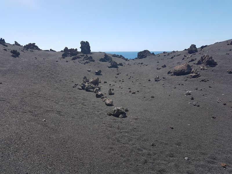 La Palma, Canarias Arid Climate Beauty In Nature Black Sand Black Stones Clear Sky Day Landscape Remote Rock Sky Tranquil Scene Tranquility Vulcanic Landscape Vulcanic Stones