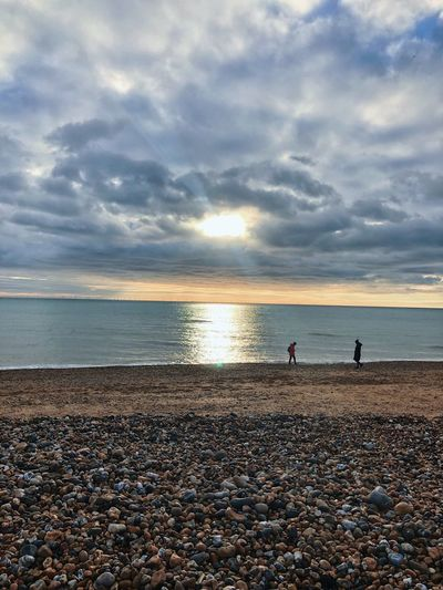 Brighton Land Sky Beach Sea Cloud - Sky Beauty In Nature Sunset Pebble Outdoors Sand Tranquility Horizon Over Water Scenics - Nature Real People Horizon Tranquil Scene Idyllic Sunlight Nature