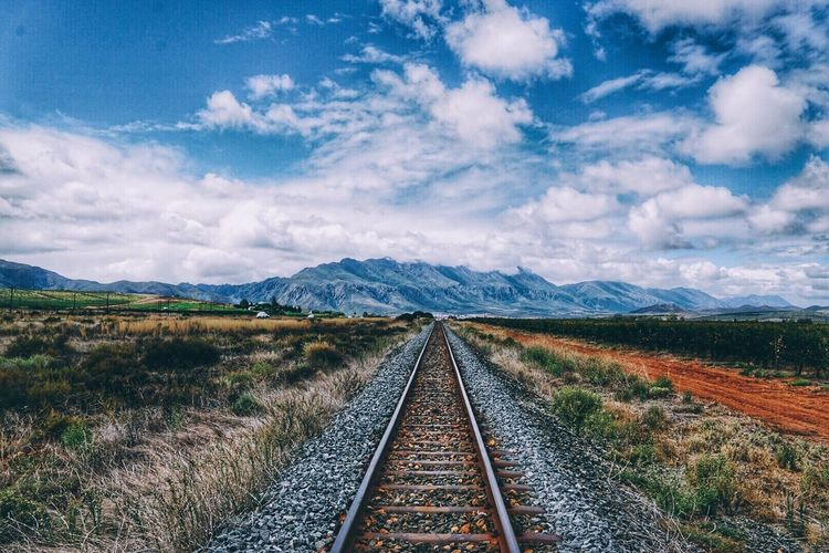 South Africa Travel Tranquility Nature Outdoors Tracks Train Sun Traveling Summer Clouds And Sky Sky Landscapes With WhiteWall