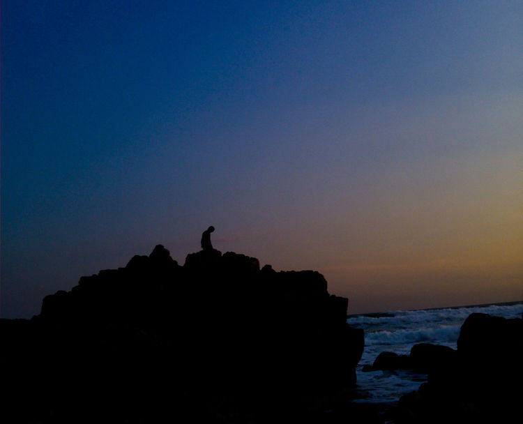 Silhouette Travel Destinations Nature Scenics Tranquil Scene Outdoors Tranquility Sky Blue Sunset People Vacations Beauty In Nature Day Mammal Animal Themes Bird South Africa Eyemphotography South African Sunsets One Person Eyeemsouthafrica EyeEm Best Shots EyeEmNewHere Beauty In Nature
