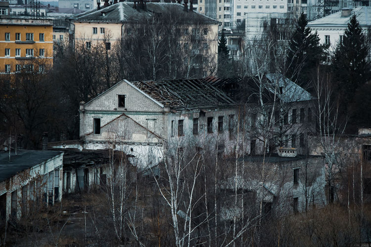 Abandoned building and bare trees in city