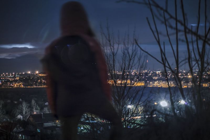 Back Turned Back To Camera Twilight Sky Twilightscapes Winter Citylights Urban Urban Exploration Urban Exploring Urban Landscape Girl One Person EyeEm Selects Night Winter Cold Temperature Outdoors Bare Tree One Person People City Adult Adults Only Illuminated Tree Sky Cityscape Architecture One Woman Only Nature