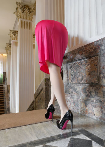 No photoshop,One shot,Self portrait Alien Alien Bikyaku Day Fashion High Heels Human Leg Indoors  Legs Legs And Feet Legs_only Leisure Activity Lifestyles Low Section Museum One Person People Pink Color Portrait Real People Skirt Women Young Adult Young Women