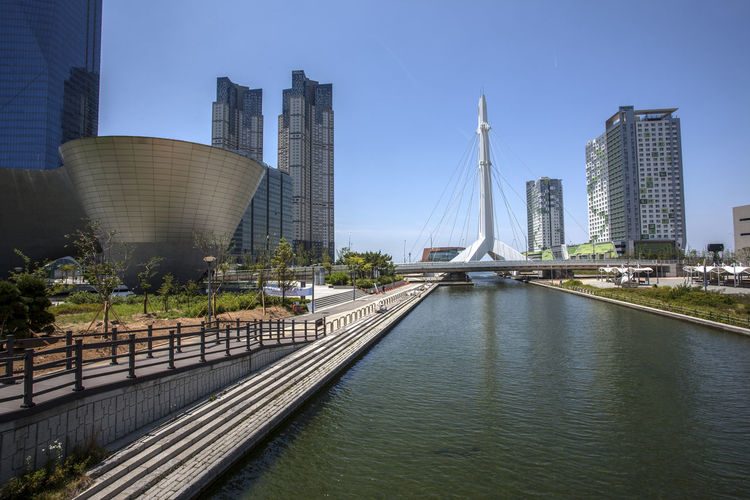 Bridge Over River By Tri-Bowl At Songdo Central Park