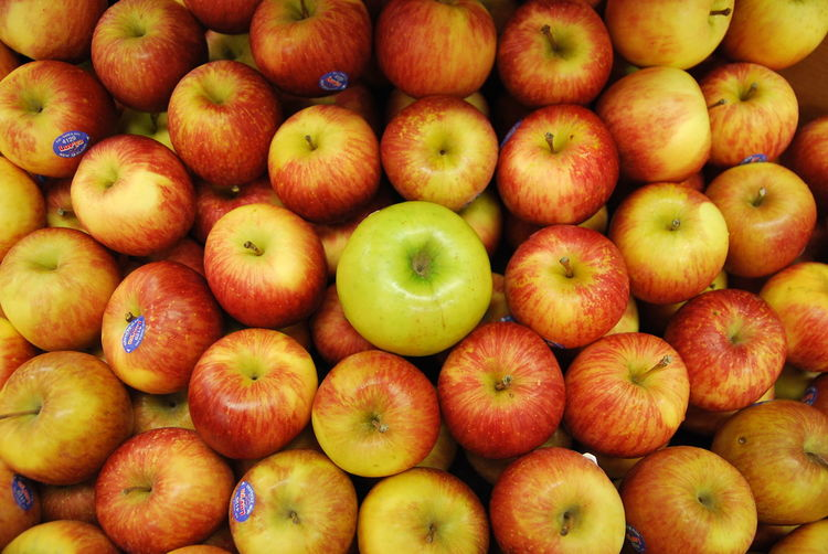 Full frame shot of apples on market stall
